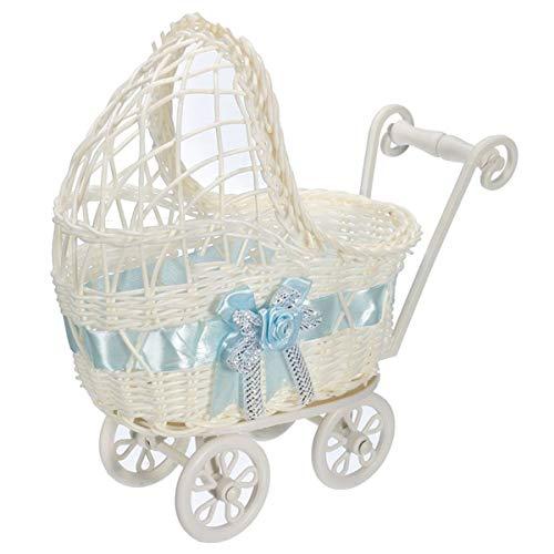 Colección De Carritos De Mimbre For Bebé, Almacenamiento De Cesto De Cesta De Mimbre Con Ruedas De Asas (azul) (Color : Azul)