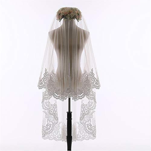 Heqianqian Brautschleier Dünner Schleier mit Kamm Hochzeitskleid und Kleid mit Applikationen Brautkleid Brautwaren Für Hochzeit (Color : Ivory)