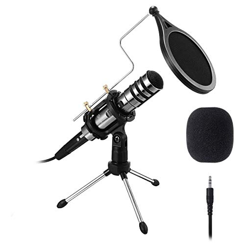 EIVOTOR PC/Phone Microphone, 3.5mm Professional Condenser Microphone Plug and Play, Recording Microphone with Mic Stand for Karaoke,Youtube, MSN, Facebook, Skype Online Chatting, Gaming, Podcasting