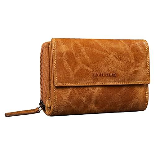 STILORD 'Thea' Donna Portafoglio in Pelle RFID Wallet Large Vintage con Protezione NFC Portafogli con Cerniera in Scatola Regalo in Vera Pelle, Colore:perugia - marrone