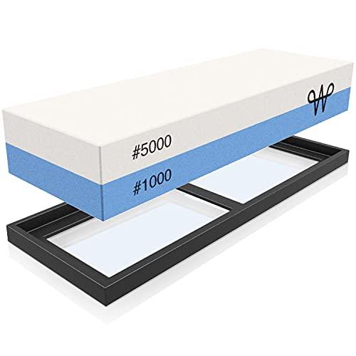 WERTA Schleifstein für Messer mit Silikonhalter - Doppelseitiger Schärfstein 1000 & 5000 Körnung - Abziehstein für Kochmesser und Küchenmesser - Wetzstein, Whetstone