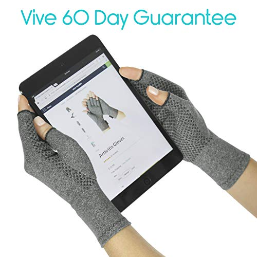 Vive Arthritis Gloves with Grips - Men & Women Textured Fingerless Compression - Open Finger Hand Gloves for Rheumatoid and Osteoarthritis - Arthritic Joint Pain Relief (Large)