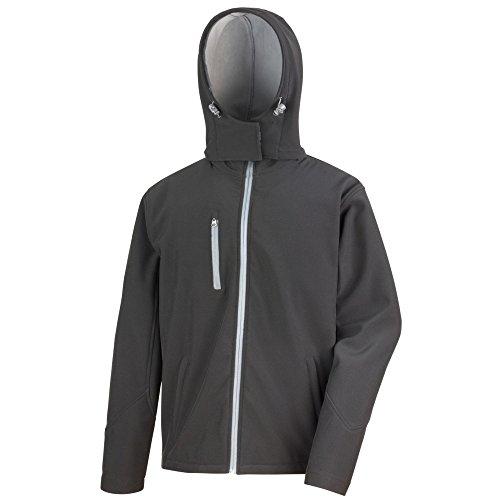 Result Core Herren Softshell Jacke Lite mit Kapuze (M) (Schwarz/Grau)