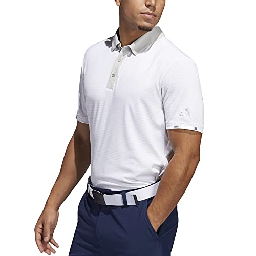 adidas RDY - Calentador de golf para hombre Polo a rayas., Hombre, color Color blanco y gris., tamaño M