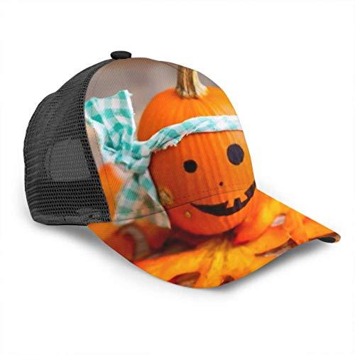 DUKAI Baseball Cap Männer Frauen, Crazy Halloween Pumpkin White Bandana auf verstellbaren Trucker Mesh Sommer belüfteten Baseball Sun Cap Hut Herren Hüte