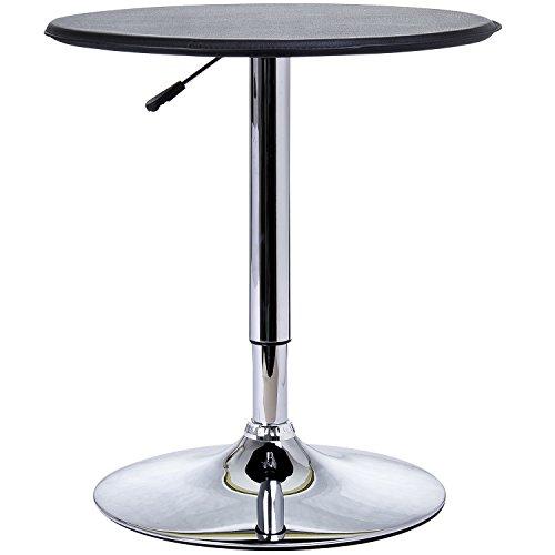 homcom Tavolino da Bar Cromato, Regolabile in Altezza (67-93cm) con Sistema Lift Up, Piano Rotondo (Φ63cm) Girevole 360°