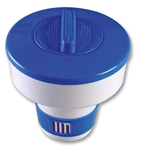 SIQUA Dispensador de Cloro Flotante, Ajustable, Mediano para Piscina. Capacidad para Pastillas de 200 g