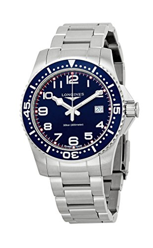 Longines Hydroconquest Quartz Stainless Steel Mens Watch Blue Bezel L3.689.4.03.6