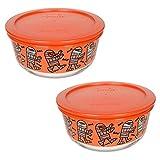 Pyrex (2) 7201 4 Cup Mummy Design Glass Bowls & (2) 7201-PC 4 Cup Pumpkin Orange Plastic Lids