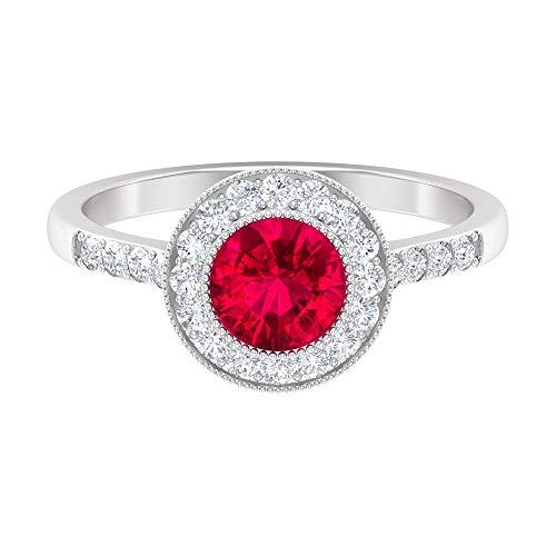 Rosec Jewels - Anillo solitario de rubí de 4,25 CT creado en laboratorio, anillo de compromiso con halo de diamante, 14K Oro blanco, Size:EU 50
