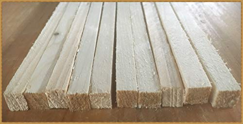 Eigenmarke 10 Stück Stapelleisten Bastelholz Vierkantleisten Holzleisten Abdeckleisten (ca. 10x10 mm, Naturholz)