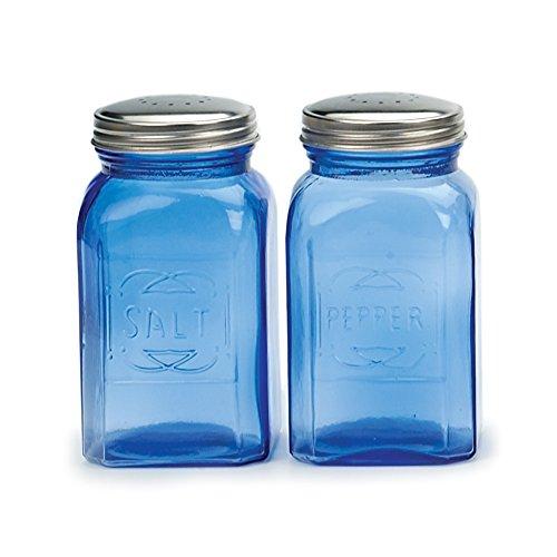 RSVP International 8 oz Retro Glass Salt & Pepper Shakers, Blue | Stainless Steel Lids |, 9 oz