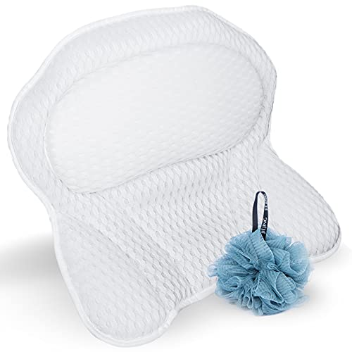 Bath Pillow, Luxury Bathtub Pillows for Tub, Ergonomic SPA Pillow for Head Neck and Back Support, Bathing Pillow with Loofah Sponge 4D Air Mesh Breathable 6 Non-Slip Suction Cups, Fits All Bathtub