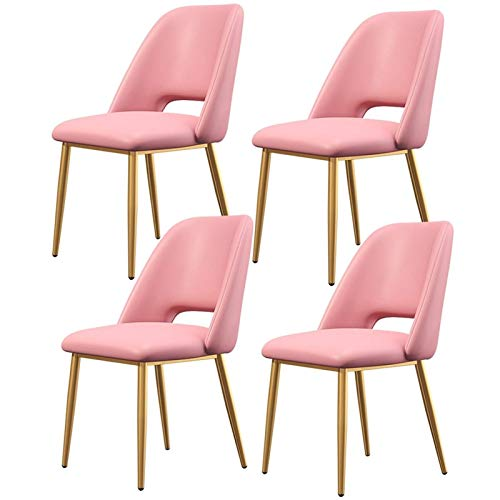 Set of 4 Dining Chairs Faux Leather Office Chair with Backrest Upholstered Seat Golden Metal Legs for Kitchen Dining Room Living Room (Color : Pink)