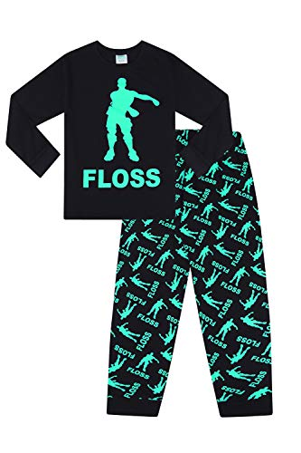 Unisex Floss Dance Gaming Black Green Long Pajamas (7-8)