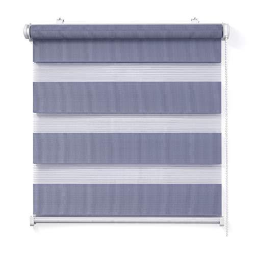 Doppelrollo, Flieder, 80x150cm - Duo-Rollo Klemm Fix mit Klemmträger, Fenster-Rollo/Seitenzug-Rollo Ohne Bohren, lichtdurchlässig und verdunkelnd