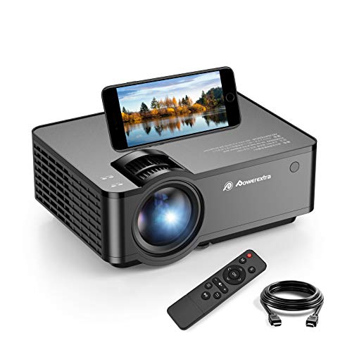 "Powerextra Mini Projector, 2021 WiFi Movie Projector with Synchronize Smartphone Screen, Supported Full 1080P and 160"" Screen, 5000 Lux Portable Projector Compatible with Android/iOS/HDMI/USB/SD/VGA"