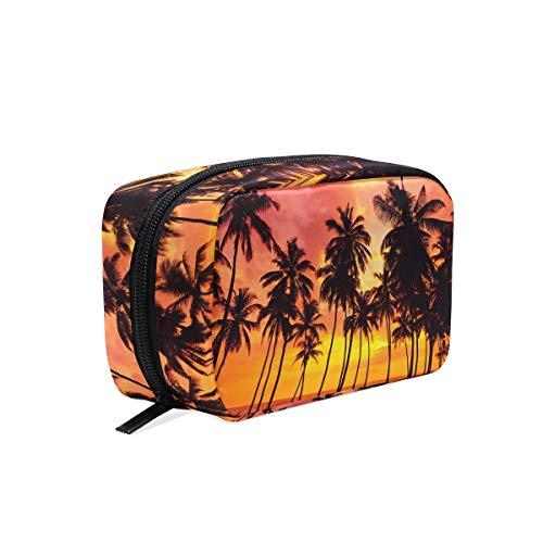Trousse de maquillage Tropical Beach Palmiers Ocean Sea Sunset Trousse cosmétique Pochette
