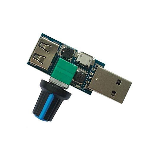 smallJUN Controlador de Velocidad del Ventilador USB DC 4-12V Reducción de Ruido Regulador de Ajuste de pérdida múltiple Controlador de Velocidad del Ventilador USB
