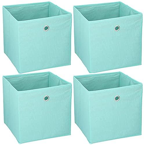 Murago - 4er Set Faltbox ca. 30x30x30 cm Türkis Aufbewahrungsbox faltbar Aufbewahrungs Körbe Einschub Korb Boxen Box Stoff Regalkorb Klappbox Organizer