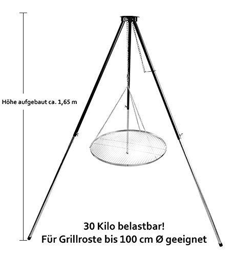 Hero Dreibein Grillgestell T 180 Schwenker - Schwenkgrill mit Rost wählbar 60-70 - 80 cm (Edelstahl, 80 cm)