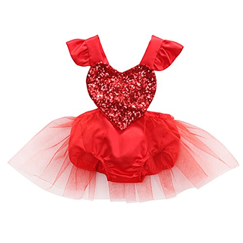 Pasgeboren Baby Meisjes Eendelig, Prinses Pailletten Tutu Mini Jurk met Hartvorm Mouwloos Romper Sunsuit Jumpsuit Outfits