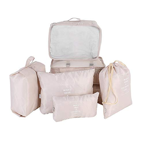 Organizadores para maletas, Organizadores de viajes, Cubos de embalaje Viajes Sets 7pcs Portable Cube Organizer Ropa interior Ropa de lavandería y artículos de tocador Bolsa de almacenamiento(Beige)