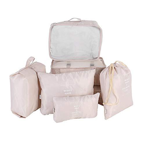 Zerodis Organizer da Valigia da Viaggio Set 7PCS Portatile cubo organizzatore Biancheria Intima Lavanderia Shoe & Toiletry Storage Bag(Beige)