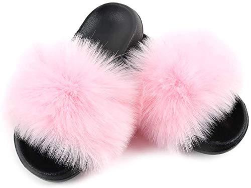 NTNY3 Damen Hausschuhe Plüsch Künstlich Pantoffeln Schlappen mit Fell Pelz Künstlich gemacht Weiche Flache Sandalen Indoor Outdoor Sommer Frauen (Rosa, 42-43 EU)