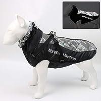 防水大型犬服ウィンタードッグコートハーネス付き毛皮のような首輪暖かいペット服ビッグドッグジャケットラブラドールブルドッグコスチューム
