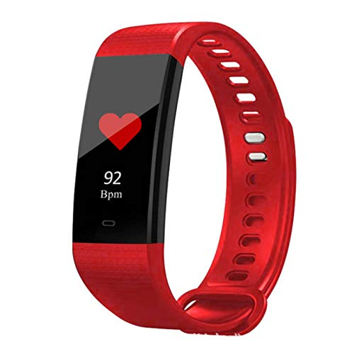 Wsaman Contador Pasos Calorías Podometro Pulsera Deportiva Pulsómetros Fitness Smartwatch Impermeable Fitness Tracker, con Pantalla Táctil Monitoreo del Sueño para Android/iOS/Hombre/Mujer,Rojo