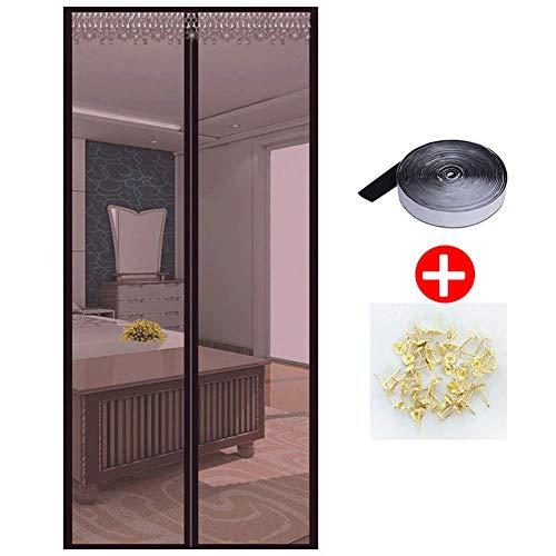 HUANGXIU Magnetisches Moskitonetz Fenster Insektenschutz Moskitonetz Magnetvorhang TüR für Kinderzimmer, Terrassentür-100 * 210cm-Braun
