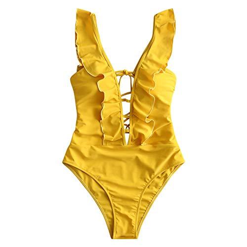 ZAFUL Vrouwen Volant ruche kruis voorkant een stuk badpak deep V hals vallen baden pakken bikini