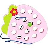 AIUIN Juguete de Cordones de Madera Montessori Aprendizaje Desarrollo temprano Puzzles de Juguete para bebés Juego de Viaje Juguetes educativos para niños pequeños (Fresa)