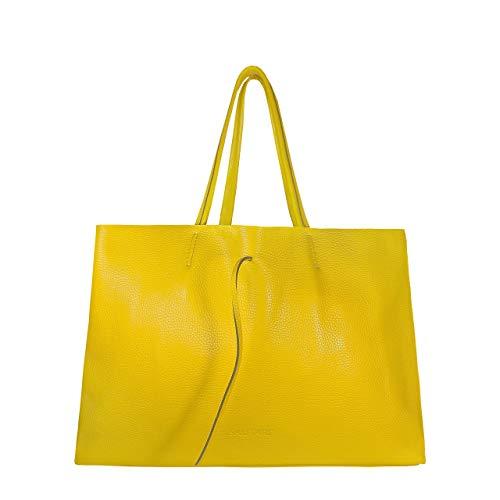 SKUTARI® GRANDE Vittoria Bolso Shopper de Piel Verdadera para Mujer con Bolsillo Interior Cosido, Bolso de Moda, Asas Largas - MADE IN ITALY