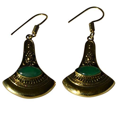 CHICNET Damen Mädchen Ohrringe Ohrhänger Ohrschmuck aus Messing und Onyx Stein, grün antik Gold, Axt Form verziert, Mandel