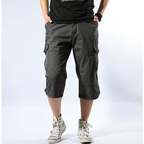 GenGXINLIN Short pour homme avec poches, couleur unie en coton noir uni pour la course à pied en plein air, respirant et décontracté, vêtements de travail confortables pour plusieurs personnes