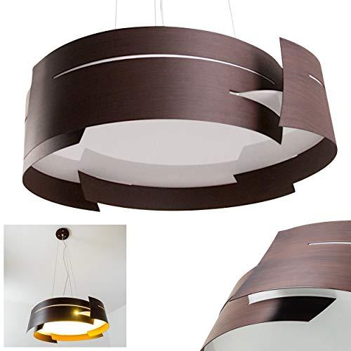 Pendelleuchte Novara, Hängelampe rund in Braun aus Metall, 3-flammig, 3 x E27 je 60 Watt, moderne Hängeleuchte geeignet für LED Leuchtmittel