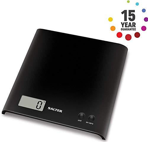 Salter Arc Digital Kitchen Scales – As Seen on TV, Electronic Food Weighing, Slim Design Cooking Scale for Home, LCD Display, Add & Weigh, Compact Storage, Easy Clean – Black