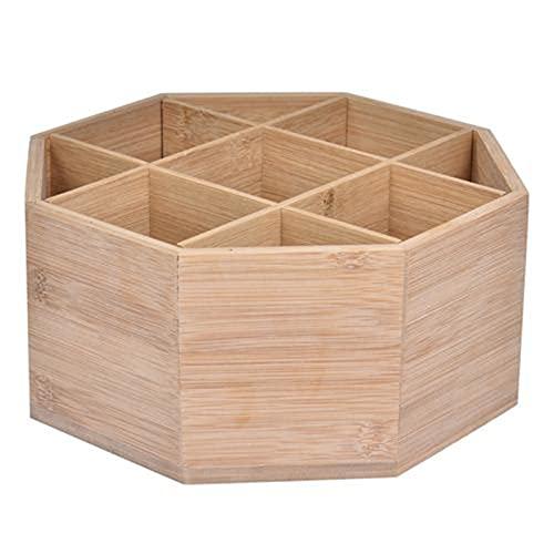 Qiujing Boîte de rangement en bois multifonction rotative pour salon, cuisine, chambre à coucher