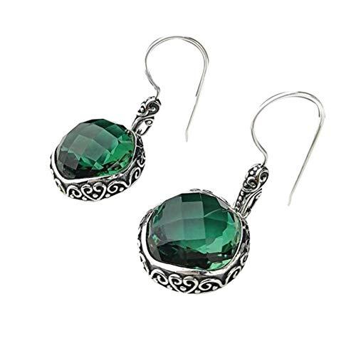 Miyuan - Pendientes de plata de ley 925 con diseño de gota de cuarzo verde