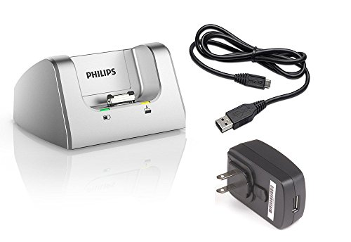 Philips ACC8120 Pocket Memo Docking Station with USB Power adapter and USB Cable