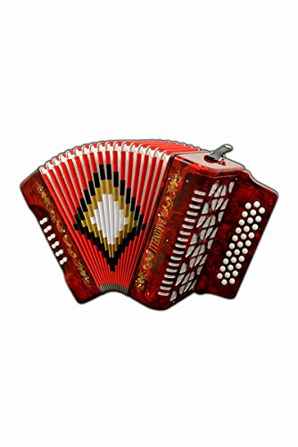 Full Size 31 Button Red Diatonic Accordion Key of SOL G,C,F, with Hardshell Case...