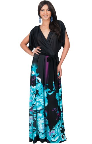 KOH KOH Plus Size Womens Long V-Neck Short Sleeve Floral Print Elegant Flattering Flowy Formal Evening Cocktail Maternity Sun Gown Gowns Maxi Dress Dresses, Black and Light Blue 3X 22-24 (3)
