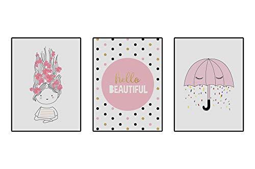 4Good Ensemble de photos décoratives pour chambre de bébé Motif nordique moderne Pour chambre d'enfant garçon fille (Hello)