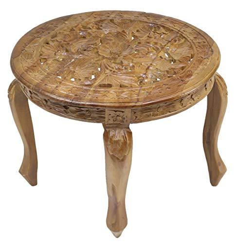 Oriental Galerie B-Ware Rundhocker Blumenhocker Tisch Beistelltisch Nachttisch Holz Hocker Barock Schnitzerei Braun Groß