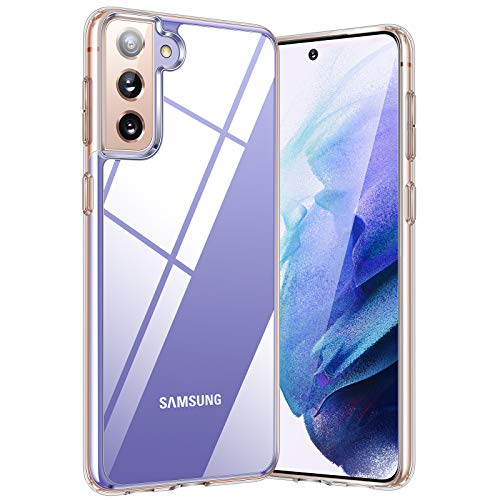 TORRAS Designed for Samsung Galaxy S21 Case 5G, [Never Yellow] [4K Super Clear] Galaxy S21 Case, Hard PC Back & Flexible Bumper Slim Thin Designed for Samsung S21 Phone Case Diamonds Series, Clear