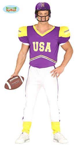 Guirca- Costume Giocatore Football Uomo, Colore Giallo,Bianco e Viola, L (L (52), 88279