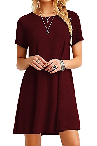 YMING Damen Shirtkleid Casual Tops Kurzarm Longshirt Mini Sommerkleid,Burgundy,XL/DE 42