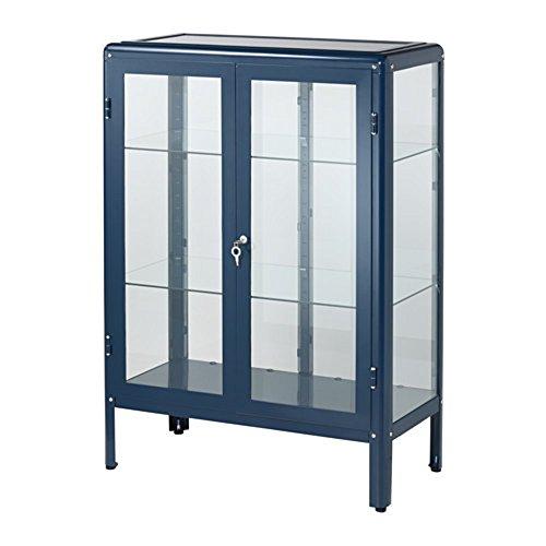 IKEA/イケア FABRIKOR ガラス扉キャビネット81x113 cm ラックブルー ブルー(803.631.72)
